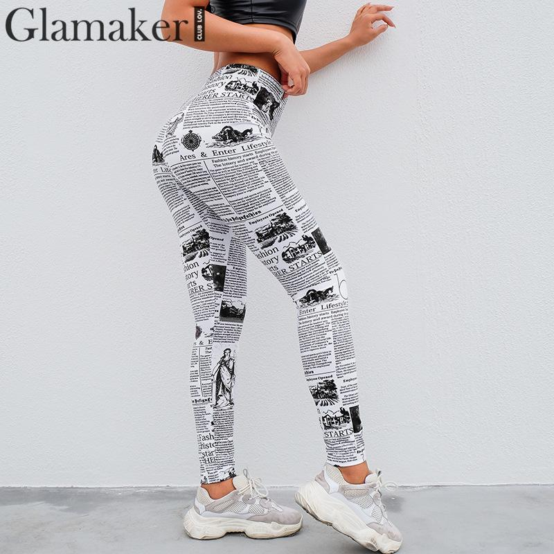 Glamaker workout   leggings   women pants capris 2019 summer Skinny warm   leggings   Newspaper printing sexy elastic push up   leggings