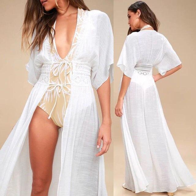 49d9c3a4a Women Sexy Lace White Kimono Beach Cardigan Bikini Cover Up Wrap Beachwear  Long Blouse Blusas Fashion Summer Holiday