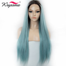 Kryssma Kanekalon Synthetic Lace Front Wig Long Straight Ombre Light Blue Kanekalon Hair Wigs For Women Heat Resistant Cosplay(China)