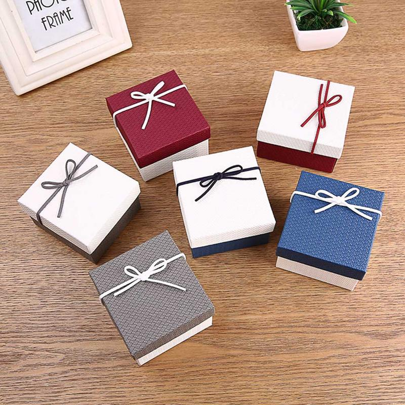 1PC Hot Sale Gift Box Innovative Bowknot Earrings Ring Jewelry Box Ring Watch Box Gift Accessories Wholesale 6Colors