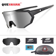 QUESHARK 2019 New Design Polarized Cycling Glasses For Man Women Bike Eyewear Cycling Sunglasses 3 Lens Mirrored UV400 Goggles
