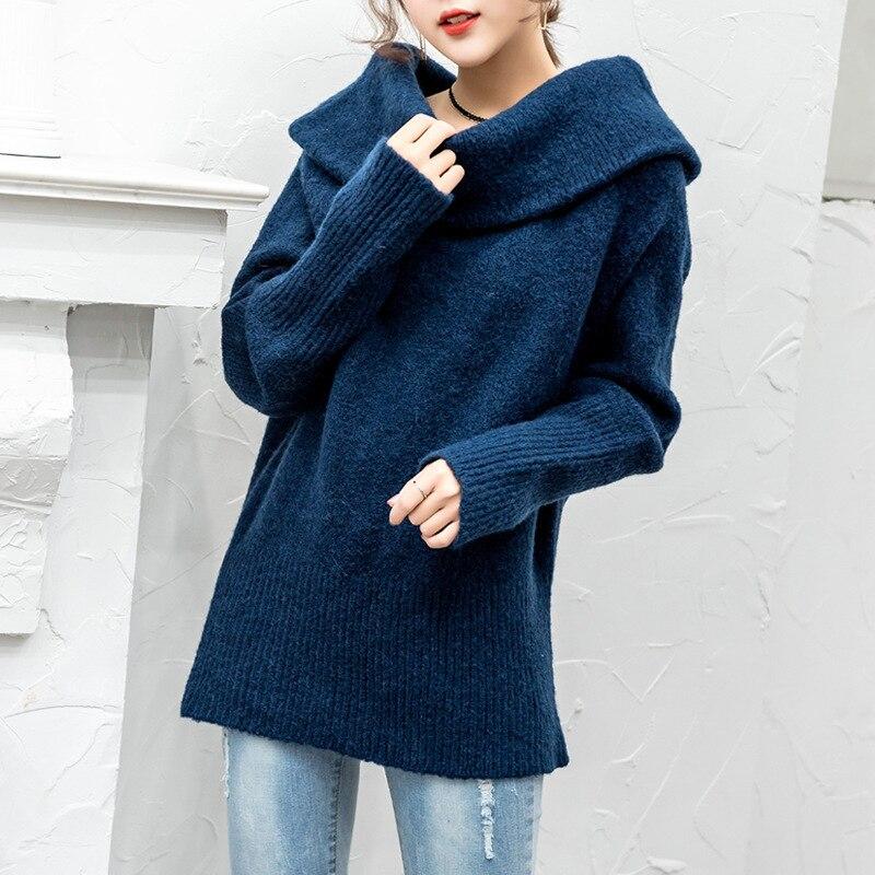 En Mode Chandail 2018 Yf57305 Femmes Lanmrem Nouvelle Sexy Tricot De Robe Longues Manches Personnalité Slash Pulls À Navy Cou Blue Hauts zwpEZUqdp