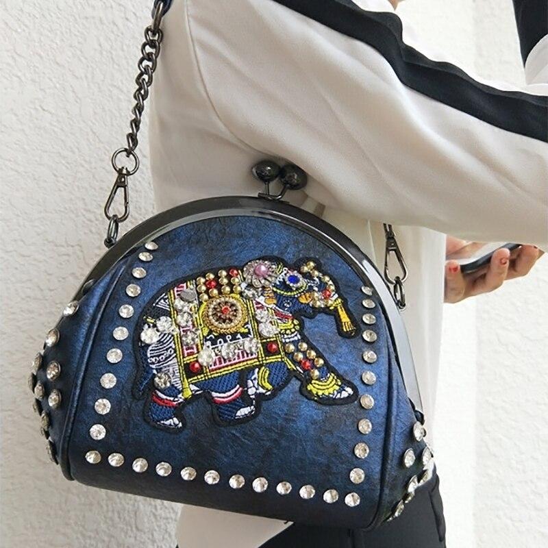 Witfox Leder Brieftasche Frauen 2019 Luxus Schafe Haut Echtem Leder Schulter Tasche Stickerei Elefanten Muster Damen Taschen Weibliche Kupplungen