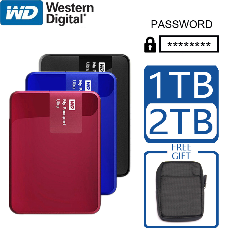 WD 1TB 2TB External Hard Drive Disk Portable Encryption Password Computer HDD HD SATA USB 3