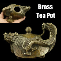 Handmade Artwork Figurines Vintage Chinese Pure Brass Teapot Copper Dragon Tea Pot Flagon Gifts Decoration Crafts Miniatures