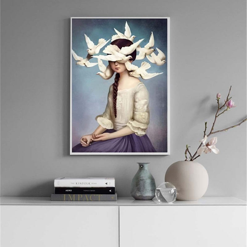 Girl and Pigeons Nordic Minimalist Decoration Painting Printed on Canvas Wall Art Picture Home Decor Posters and Prints Unframed in Painting Calligraphy from Home Garden