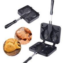 2 формы рыба тайяки в форме Вафельницы плиты чайник с антипригарным Buscuit торт испечь формы для выпечки бытовые кухонные приборы DIY инструмент для приготовления пищи