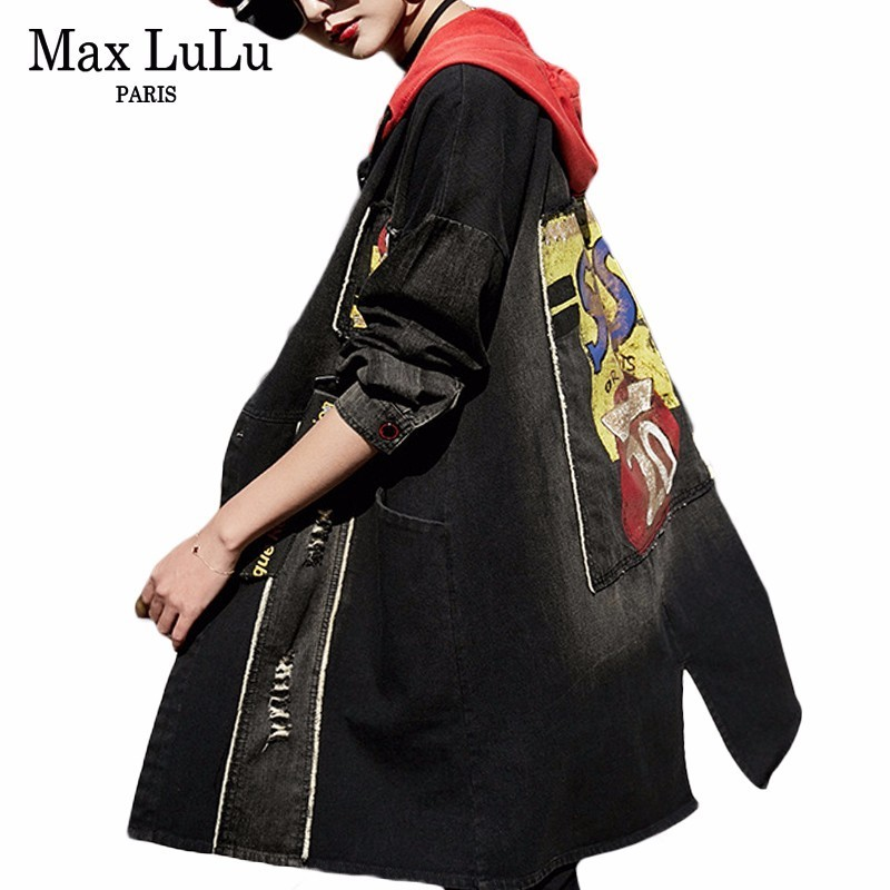 Max LuLu 2019 Spring Fashion Korean Style Clothes Ladies Hooded Windbreaker Womens Denim   Trench   Punk Streetwear Female Long Coat