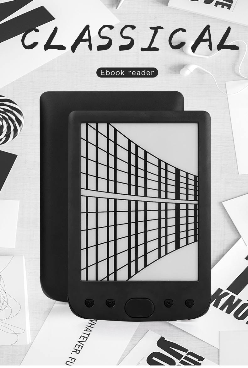 Claite 8G BK-6025 2500 mah lecteur e-book e-ink 6 pouces résolution eBook lecteur mémoire ebook (lumière frontale intégrée)