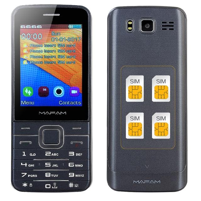"Mafam 4 쿼드 sim 4 4 대기 슬림 수석 휴대 전화 2.8 ""hd 화면 블루투스 다이얼 손전등 매직 음성 gprs sos v9500"