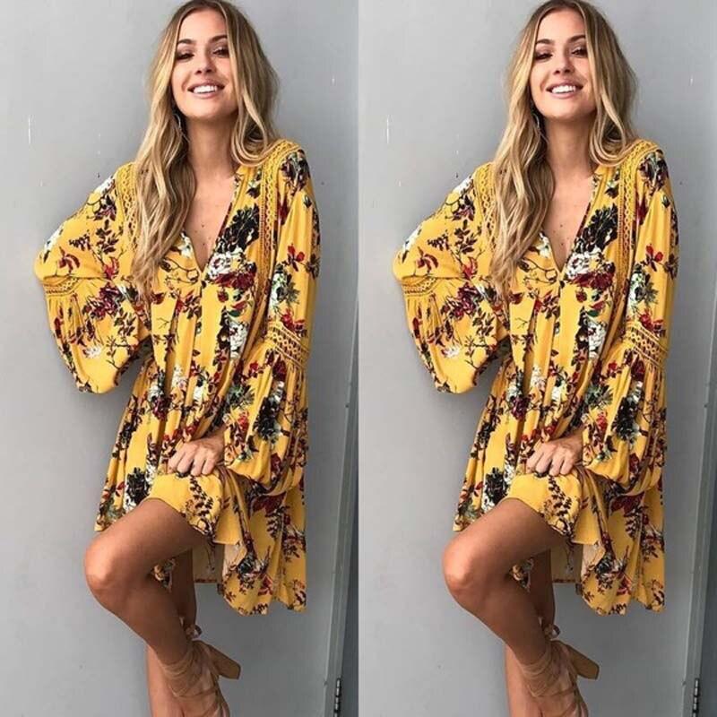 Summer Women Floral Cotton Boho Dress 2019 New Spring Autumn Floral Long Sleeve Loose Party Boho Mini Dress Tops S-2XL