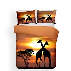 Image 2 - طقم سرير 3D لحاف مطبوع غطاء طقم سرير الزرافة الحيوان المنسوجات المنزلية للبالغين نابض بالحياة أغطية مع المخدة # CJL09