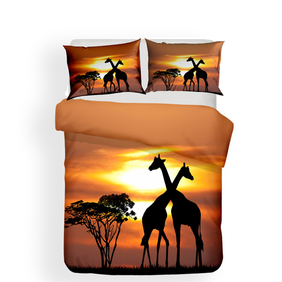 Image 2 - Bedding Set 3D Printed Duvet Cover Bed Set Giraffe Animal Home Textiles for Adults Lifelike Bedclothes with Pillowcase #CJL09-in Bedding Sets from Home & Garden