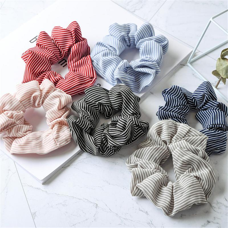 2Pcs Stripe Lady Hair Ring Elastic Hair Bands Sports Dance Soft Charming Ponytail Holder Scrunchies Tie Hairband Hair Accessory