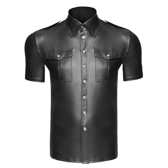 Men Undershirt Faux Leather Shirts Short Sleeve Cool Men Nightclub Stage Costumes Bar Club Wear Costume Shirts Undershirts 2