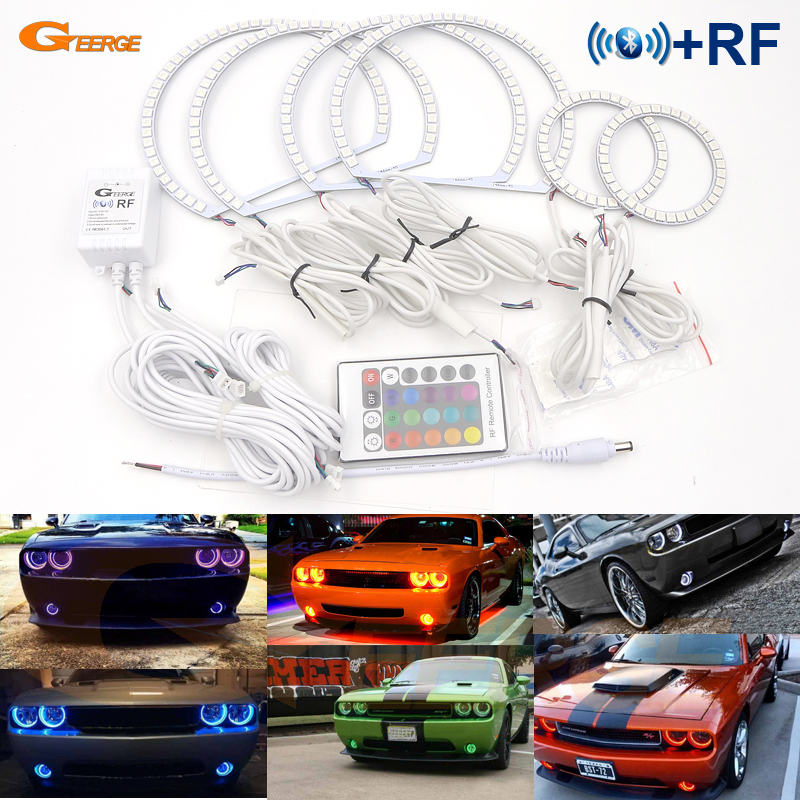 For Dodge Challenger 2008-2014 Excellent RF Bluetooth Controller Multi-Color Ultra bright RGB LED Angel Eyes Halo Ring kit