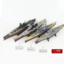 1:1000 World War II ship Model Battleship Model Ship Bismarck  USS Missouri  HMS Hood Alloy Finished Product For Child Toy realts 78013 tamiya wwii german bismarck battleship war ship model kit 1 350