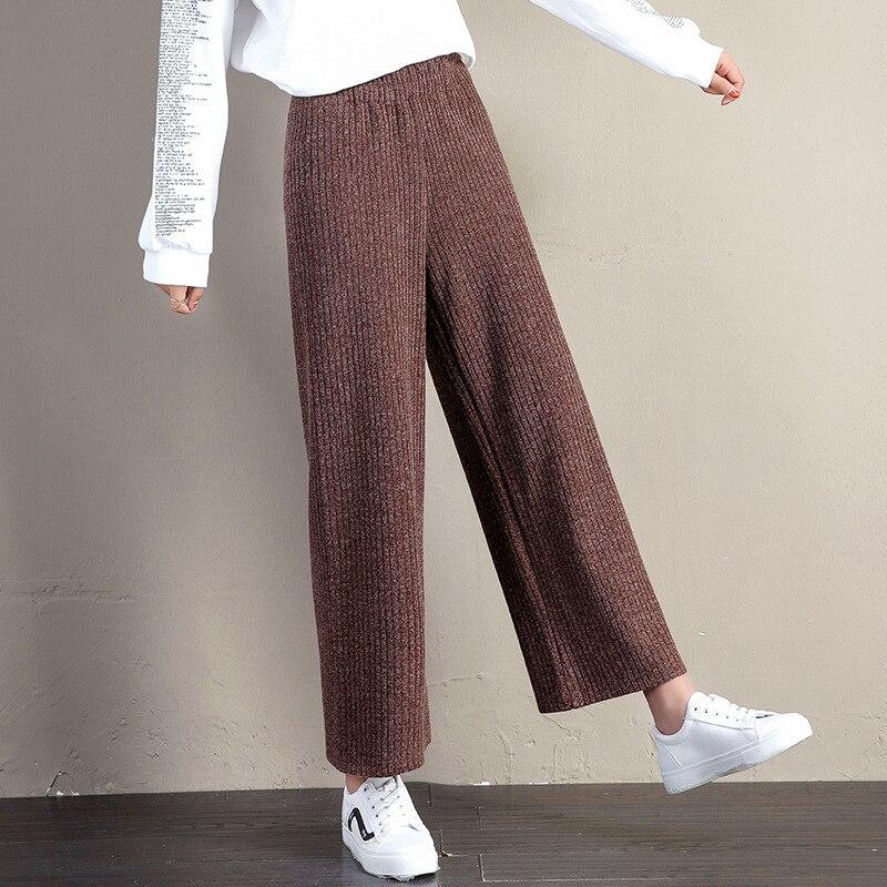 A FAN LANG New Women Autumn Winter Woolen Ankle Length Casual Pants Loose Sweat Pants Trousers Streetwear Woman's Wide Leg Pants 3
