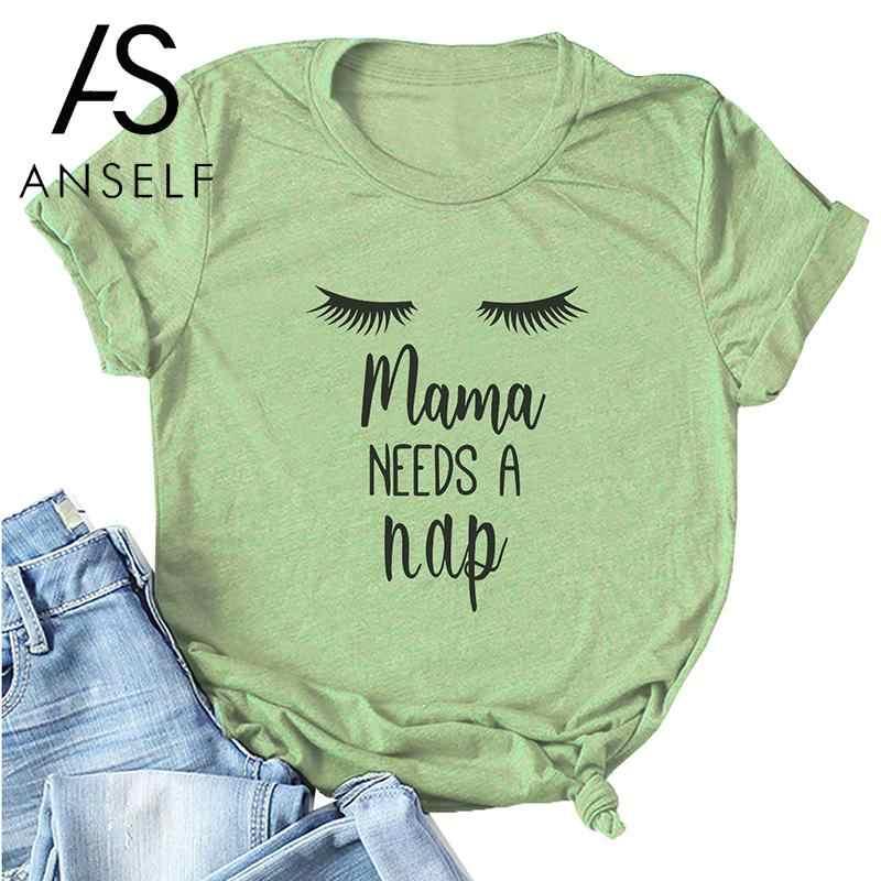 Anself  летняя футболка  женская с коротким рукавом и круглым вырезом, с буквенным принтом, mama NEEDS A nap, плюс размер, хлопковая футболка, крутые футболки для мамы, повседневные топы