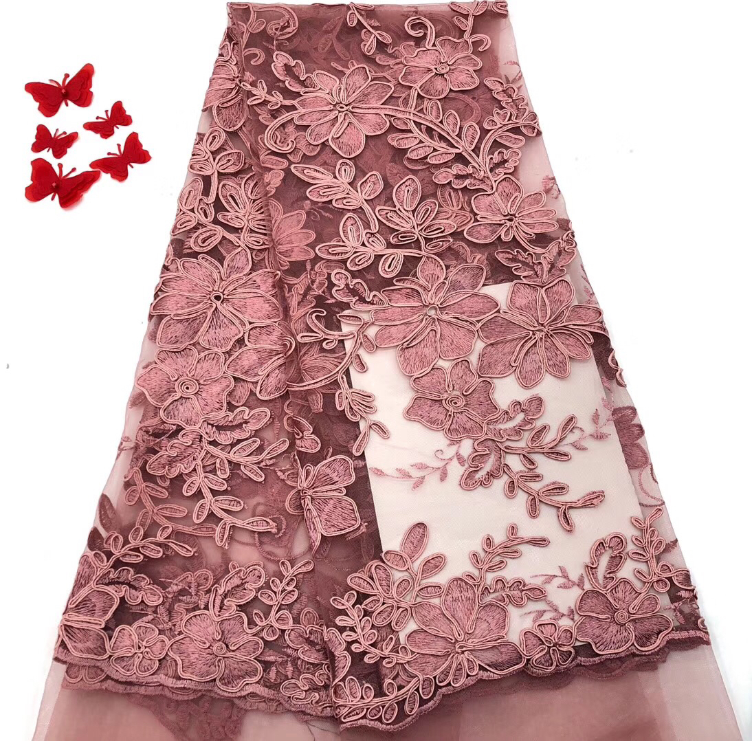 Nigerian High Quality Wedding Lace Swiss Lace Dusty Pink African Dress 2018 New Nigeria Lace Fabric