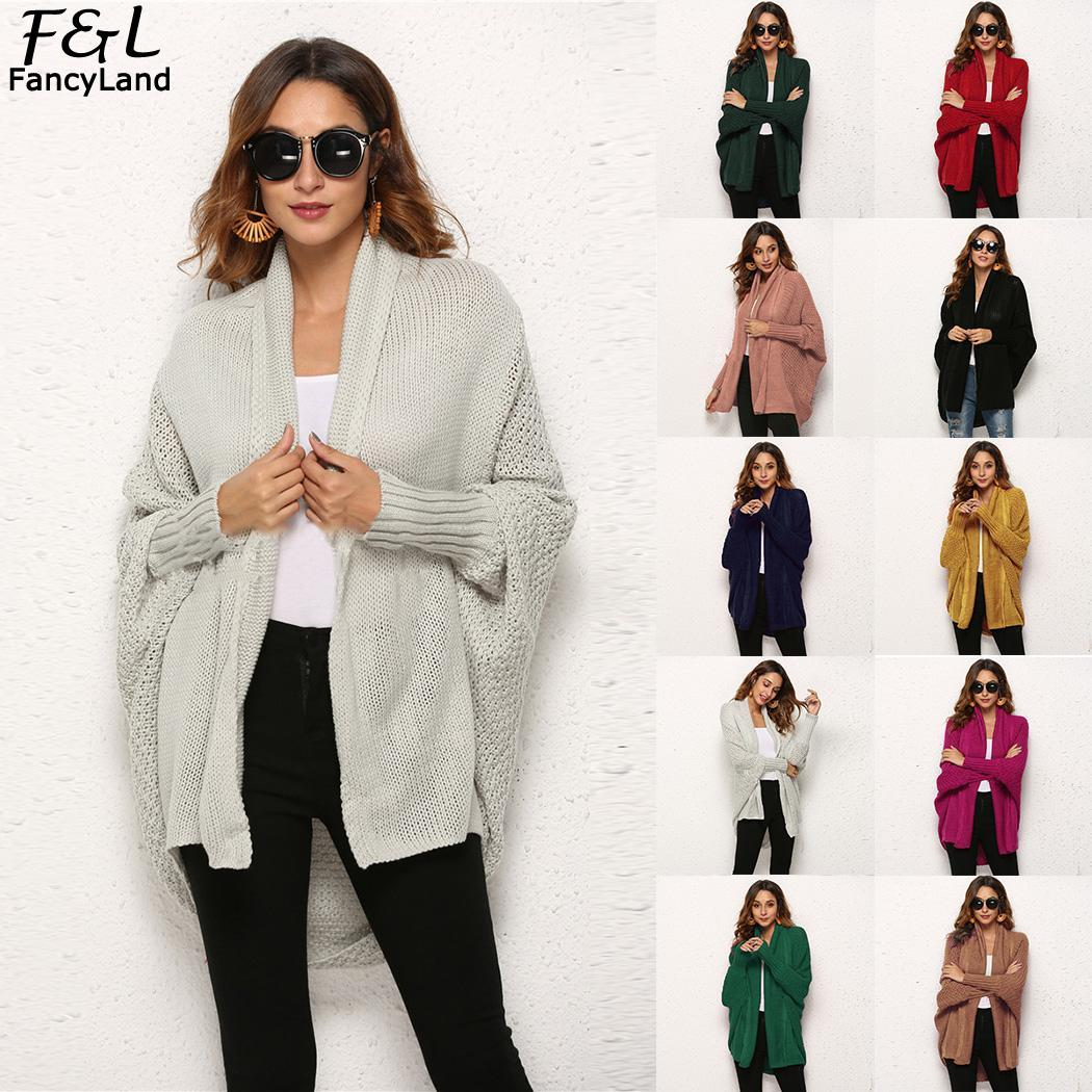 Women Knitted Open Regular Batwing New Solid Open Front Casual None Long Loose neck Sleeve Loose Fashion Cardigan V