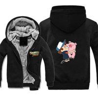 anime Gravity Falls jacket Bill Cipher Cosplay hoodie Costume Jackets Coats Long Winter Zipper Coat Hooded Hoodie
