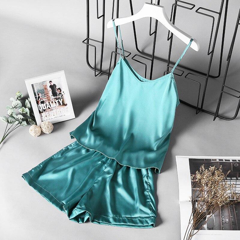 Summer New Ice Silk Spaghetti Strap Sexy Women Pajamas Pure Color Thin Section Fashion Sleepwear
