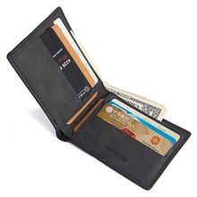 Short Bifold Wallet Men Leather PU Vintage Solid Casual