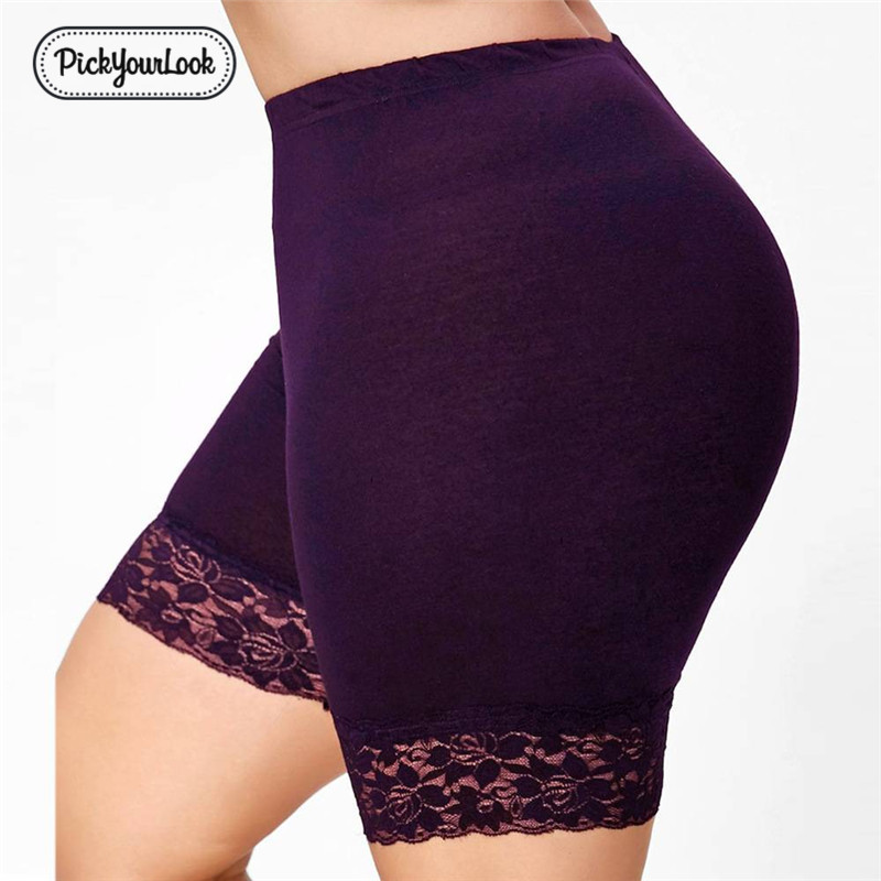 Pickyourlook Plus Size Women Short   Leggings   Solid Lace Female Pants Women Under Skirt Sport Plain Stretch Ladies Short Bottoming