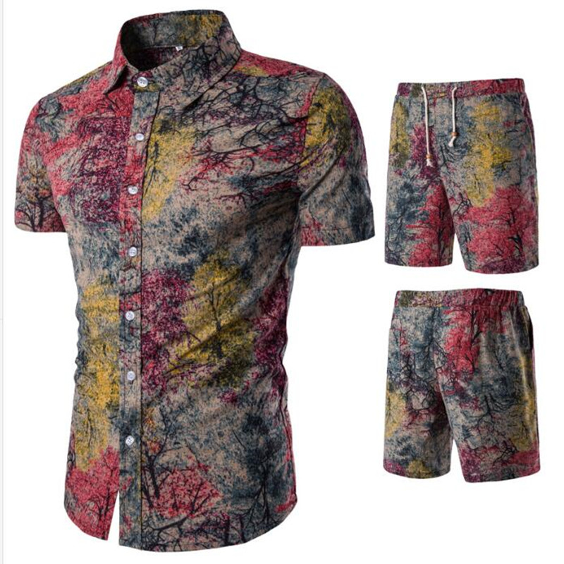 Image 3 - 19Men's belted shorts floral shirt set spring casual shirt belted shorts ensemble short sleeve floral shirt with shorts M  5XL-in Men's Sets from Men's Clothing