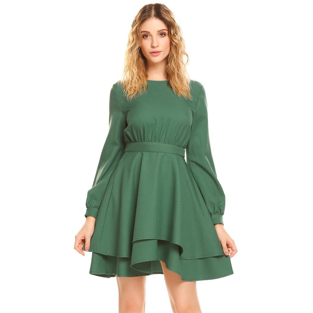 AL'OFA Women Party   Cocktail     Dresses   Lantern Sleeve Back Hollow Out A-Line Pleated Sexy Homecoming   Dresses