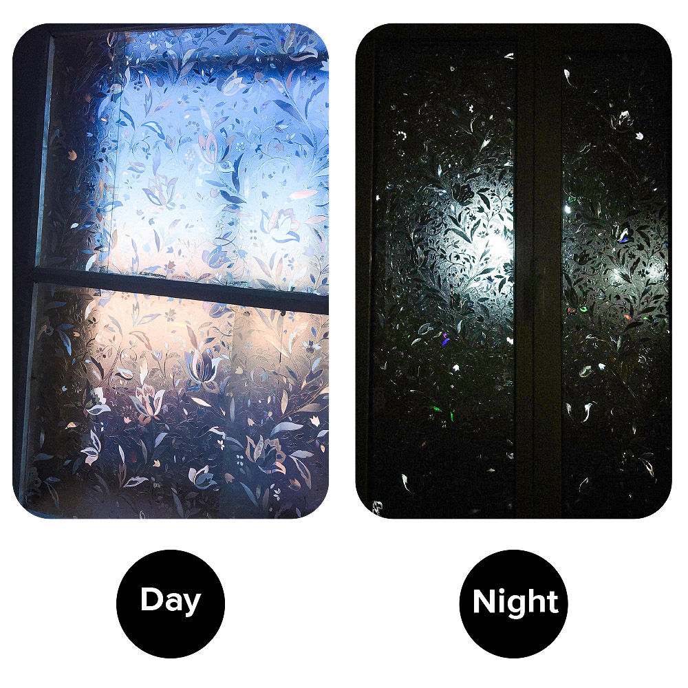 0 3mm 3d Static Cling plant Pvc Heat Insulation Opaque Explosion proof Glass Films No glue Decorative Sticker Window Film in Decorative Films from Home Garden