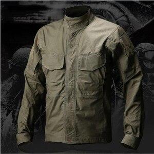 Image 4 - 2019 taktyczna wojskowa koszula w kamuflaż z długim rękawem mężczyźni wiosna lato koszula Cargo żołnierze sił zbrojnych walki multi kieszenie jednolite