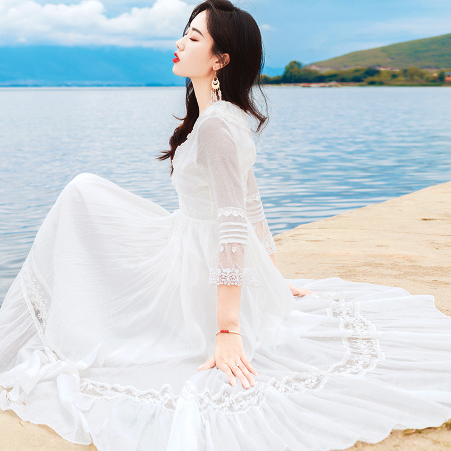 2019 Women Summer Solid White Square Collar Half Sleeve Sundress Vintage Lace Patchwork Chiffon Beach Party Dress Vestidos in Dresses from Women 39 s Clothing