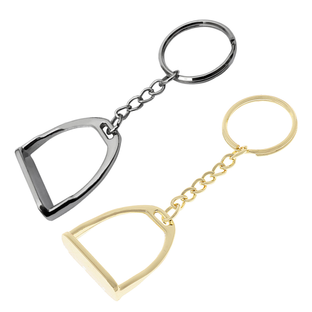 2pcs Horse Pony Stirrup Durable Lightweight Keyring Hanging Ornament Keyfob for Women Men Business Bag Hand Bag Stirrup Keychain