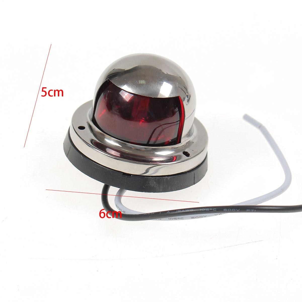 2x Red Green 6cm 12V Stainless Steel Marine Boat LED Yacht Bow Navigation Light