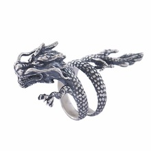 Punk 925 Silver Dragon Ring for Men Anillos De Bizuteria Diamante Animal Shape Jewelry Rings GemStones Bizuteria Gemstone ring chic dragon head shape ring for men