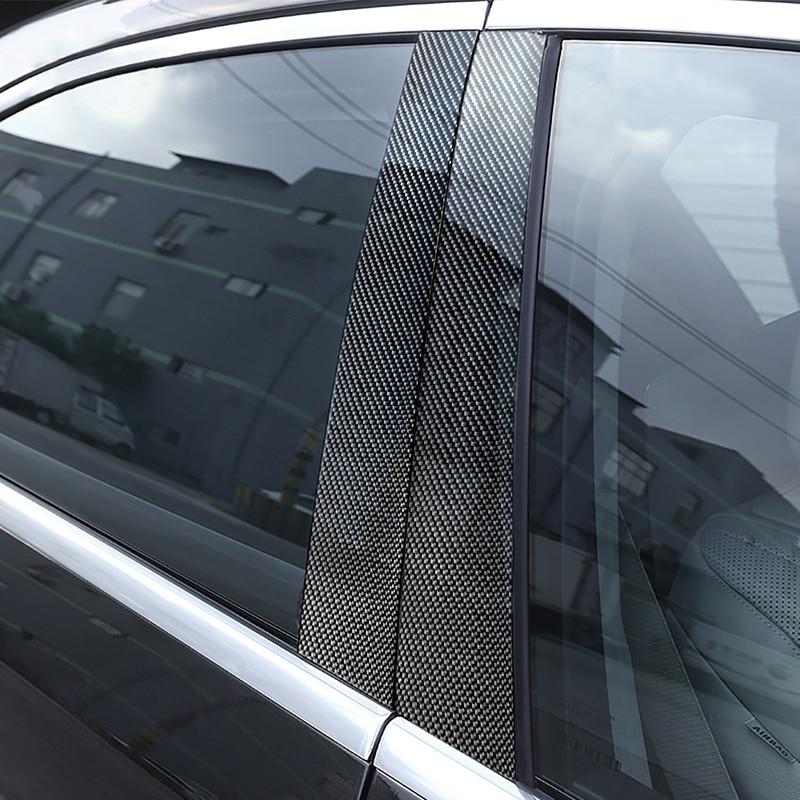 6pcs Car Carbon Fiber Window B pillar Molding Decor Cover Trim For Mercedes Benz GLK Class 2008 2009 2010 2011 2012 2013-in Interior Mouldings from Automobiles & Motorcycles