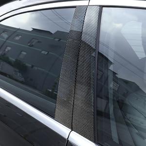 Image 1 - 6pcs Car Carbon Fiber Window B pillar Molding Decor Cover Trim For Mercedes Benz GLK Class 2008 2009 2010 2011 2012 2013