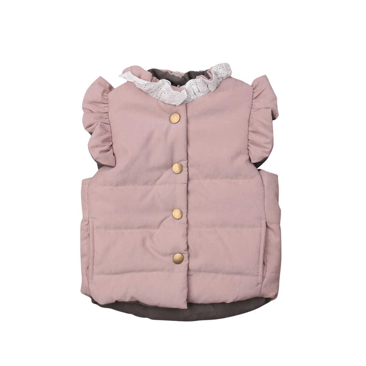 Kleinkind Baby Mädchen Winter Mantel Jacke Kleine Mädchen Prinzessin Spitze Großen Bogen Ärmellose Weste Kinder Kinder Oberbekleidung 0-4T