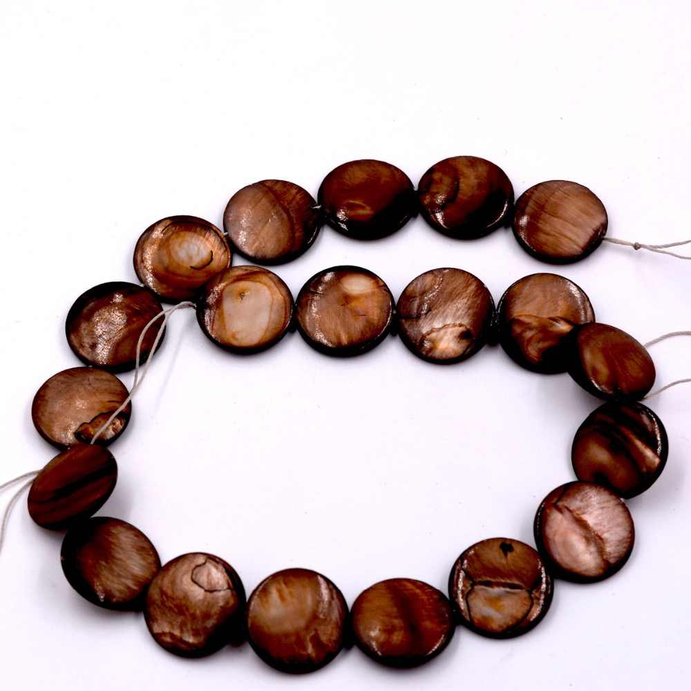 20mm Pretty Banded Brown Shell Coin Shape Loose Beads Strand 15""
