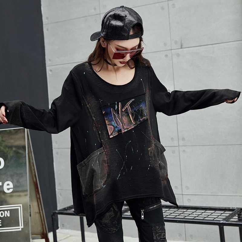 Max LuLu 2019 Роскошные корейские женские весенние топы Harajuku, Футболка женская с принтом, винтажная одежда в стиле панк, женская черная длинная футболка