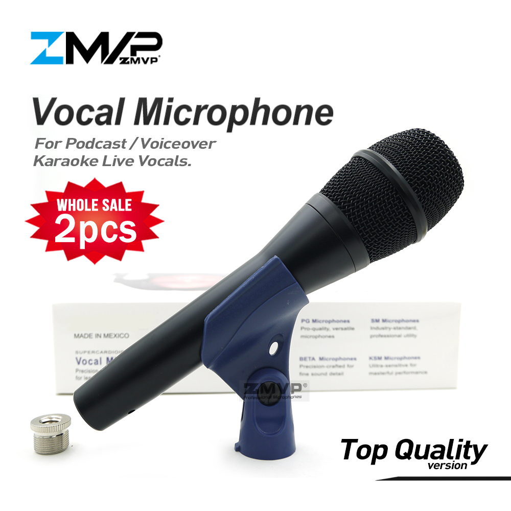 2pcs/lot Top Quality KSM9 Professional Live Vocals KSM9HS Dynamic Wired Microphone Karaoke Super-Cardioid Podcast Microfono Mic