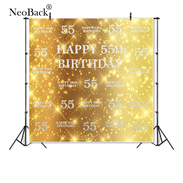 Thin Vinyl Happy 55th Birthday Twinkling Glitter Aristocrat Photography Studio Backgrounds Professional Indoor Photo Backdrops