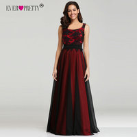 Ever Pretty Red Black Evening Dresses Long EZ07601RD Square Neck Tulle Appliques Lace Formal Gown New Women robe de soiree 2018