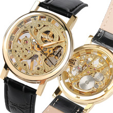 цена на Skeleton Watch Men Mechanical Hand Wind Genuine Leather Wrist Watches Top Brand Luxury Business Man Clock los hombres miran