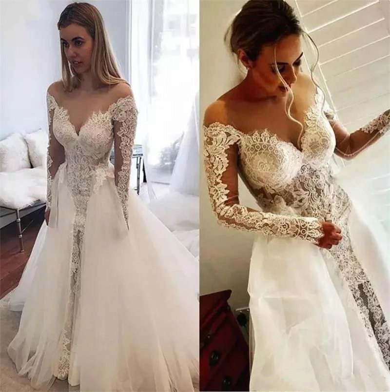 Removable Wedding Gown Dress: Mermaid Detachable Skirt Lace Tulle Sexy Luxury Bridal