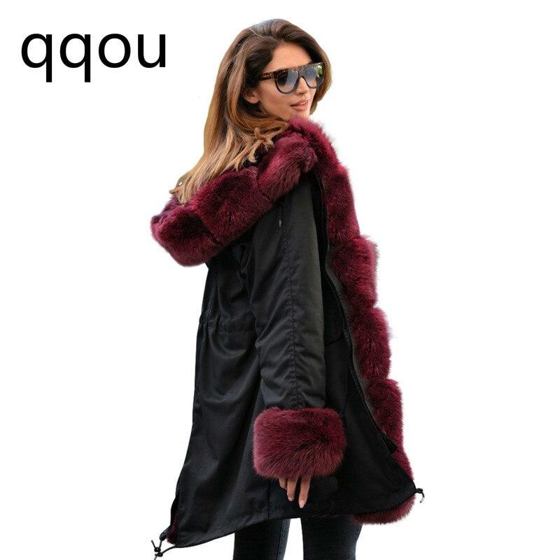 D'hiver Grand Fourrure Capuchon Femmes army De Modèles Col Longue Green Rouge Vin 2018 Noir Chaud À Veste Explosion Manteau Section Slim 7Tqxw6