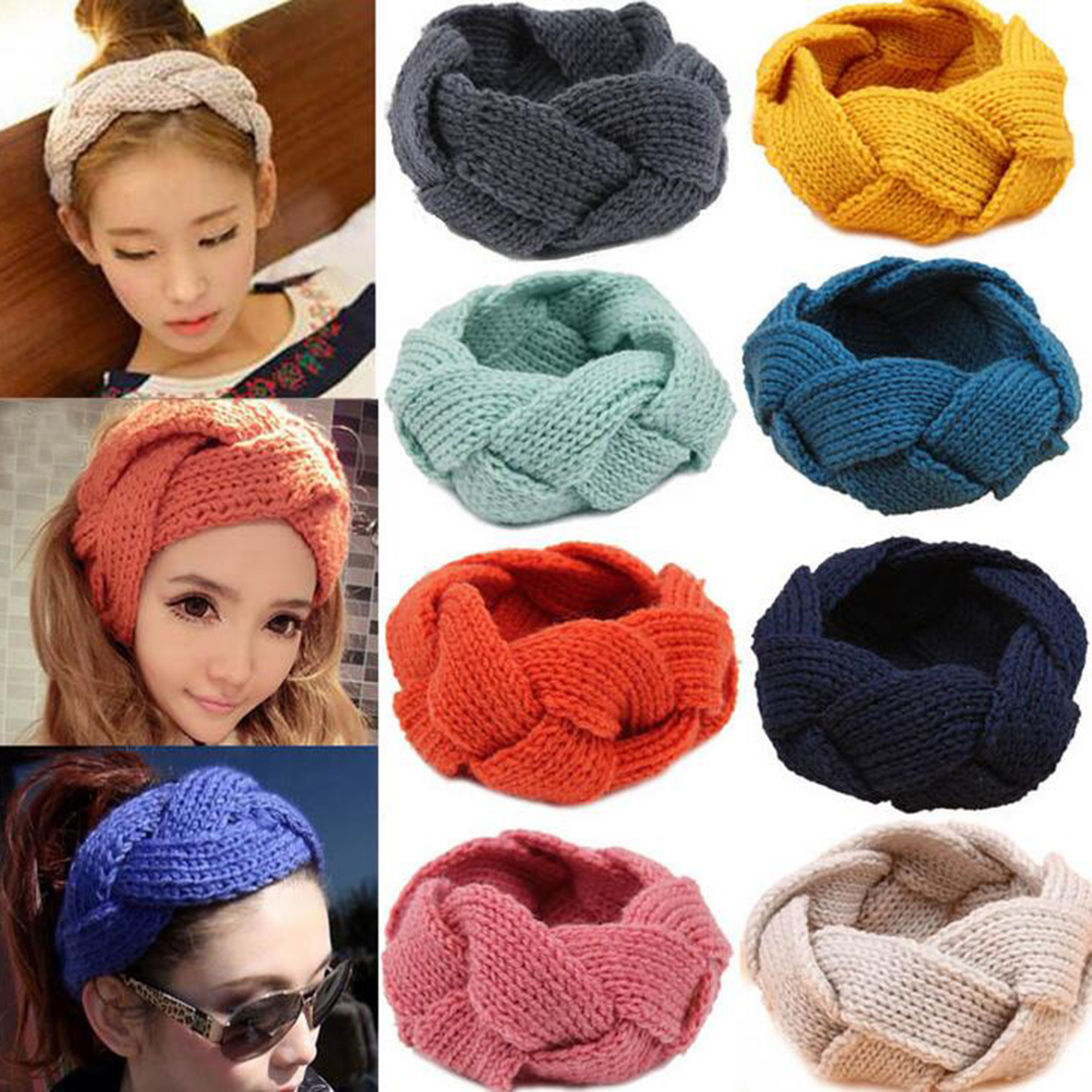 734a0909788 Detail Feedback Questions about Women s Wool Crochet Turban Headband Winter  Warm Elastic Hairband Head Wrap Bandage Headbands Headwear Girls Hair ...