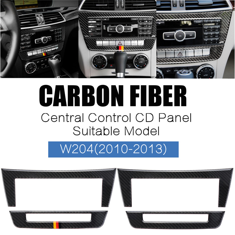 Carbon Fiber Car Central Control CD Panels Stickers Auto Interior Frame Cover Decoration Stickers For Mercedes W204 2010 2013